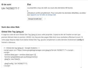 Récupération du code de suivi par Google Analytics