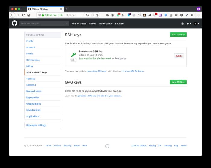 ajout clef SSH dans Github